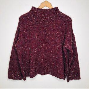 Eileen Fisher Boxy Cranberry Knit Merino Sweater L